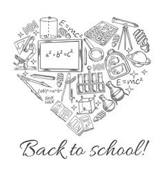Back to school sketch heart poster vector