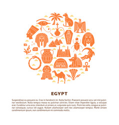 banner with egypt symbols in flat style and place vector image
