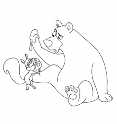 bear and squirrel vector image