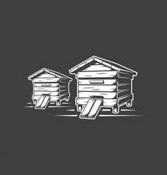 Beehives isolated on black background vector