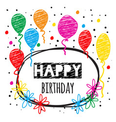 birthday card in doodle style vector image