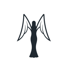 Black angel icon with white wings vector