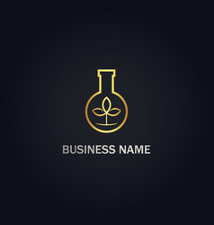 Bottle lab eco organic gold logo vector