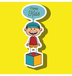 Boy kids happy cube icon vector