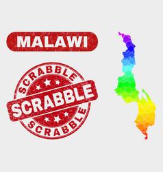Bright mosaic malawi map and distress scrabble vector