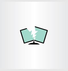 Broken monitor computer repair logo icon vector