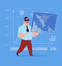 Business man wear virtual reality digital glasses vector