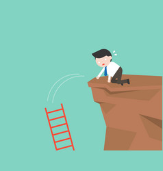 businessman drop ladder in a cliff mistake concept vector image
