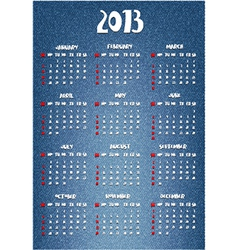 Calendar with denim print vector image