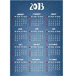 Calendar with denim print vector