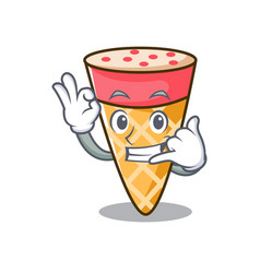 Call me ice cream tone mascot cartoon vector