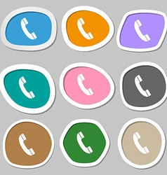 Call symbols Multicolored paper stickers vector image