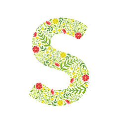 capital letter s green floral alphabet element vector image