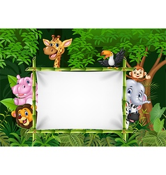 Cartoon african animals with blank sign vector image