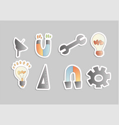 cartoon engineering icon set magnet bulb vector image