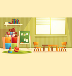 Cartoon kindergarten with toys for children vector