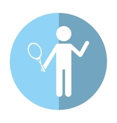 character player tennis and racket shadow vector image