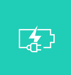 charging battery and electric plug icon vector image