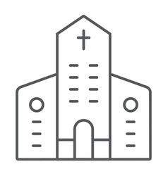 church thin line icon architecture and christian vector image