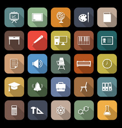 Classroom flat icons with long shadow vector
