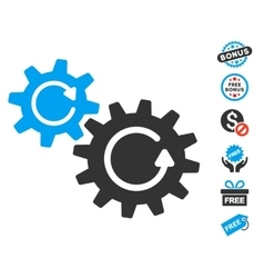 Cogs Rotation Icon With Free Bonus vector