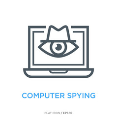 Computer spying line flat icon vector