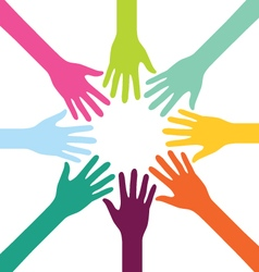 Creative Colorful Teamwork People Hand vector image