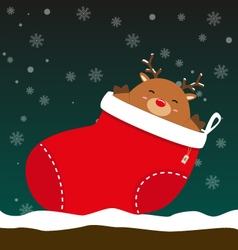 Cute fat big reindeer come out of christmas sock vector