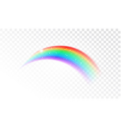 cute shining rainbow on transparent background vector image