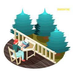 downshifting isometric composition vector image