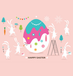 easter scene funny bunnies painting a big egg vector image