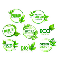 Eco bio organic product icons with green leaves vector