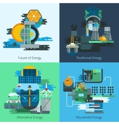 Energy production flat set vector image