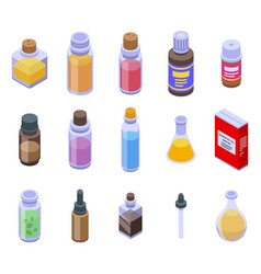 Essential oils icons set isometric style vector