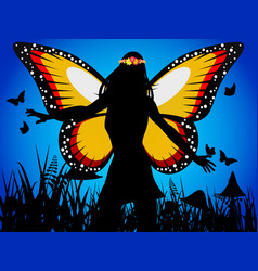 Fairy queen silhouette with butterfly wings vector