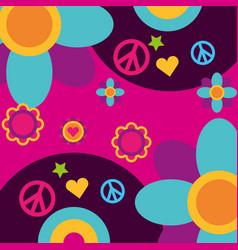 Free spirit music vinyl disc flowers heart peace vector