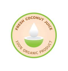 Fresh coconut juice logo with coconut juice vector