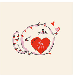 Funny cute round cat with word for you on belly vector