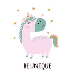 funny pink unicorn isolated on white background vector image