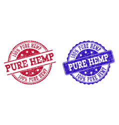 Grunge scratched pure hemp stamp seals vector