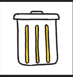 Hand drawn trash can doodle icon vector