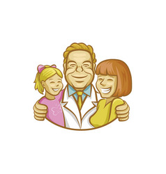 Happy doctor hugging mother and girl vector