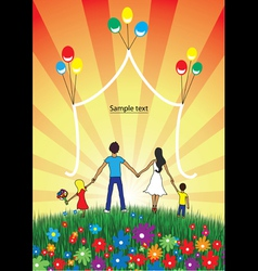 Happy family spends time together on nature vector