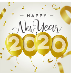 happy new year 2020 gold party balloon card vector image