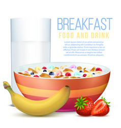 Healthy breakfast with fruits bowl of flakes and vector
