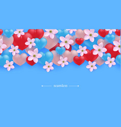 Hearts and flowers horizontal seamless border vector