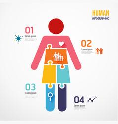 human shape jigsaw banner concept design vector image