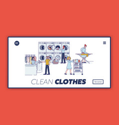 Laundry concept website landing page characters vector