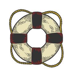 Life buoy color sketch engraving style vector