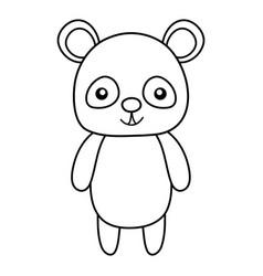 Line cute and happy panda wild animal vector